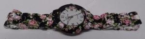 Moteriškas laikrodis matinis su gėlių motyvais - visu ilgiu