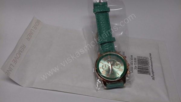 Moteriškas laikrodis mentolo spalvos - su voku