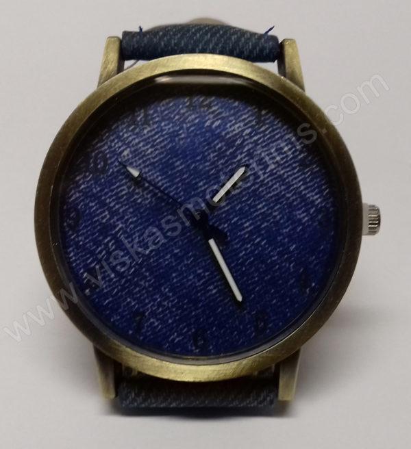 Moteriškas laikrodis mėlynos spalvos džinsine apyranke