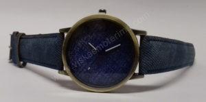 Moteriškas laikrodis mėlynos spalvos džinsine apyranke - iš priekio