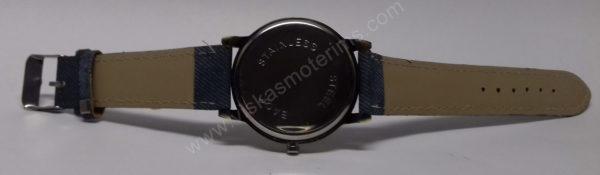 Moteriškas laikrodis mėlynos spalvos džinsine apyranke - iš nugaros