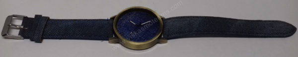 Moteriškas laikrodis mėlynos spalvos džinsine apyranke - visu ilgiu