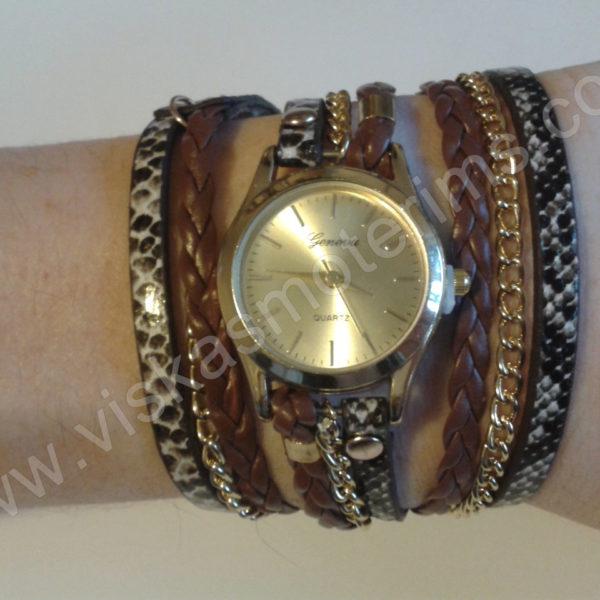 Moteriškas laikrodis ruda medžiagine apyranke