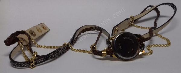 Moteriškas laikrodis ruda medžiagine apyranke - visu ilgiu