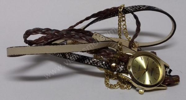 Moteriškas laikrodis ruda medžiagine apyranke - visu ilgiu 2