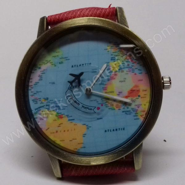 Moteriškas raudonas laikrodis su sekunde lėktuvėliu