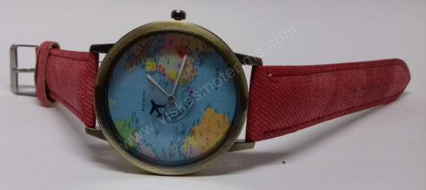 Moteriškas raudonas laikrodis su sekunde lėktuvėliu - iš priekio