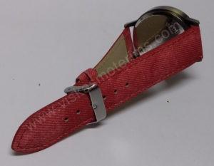Moteriškas raudonas laikrodis su sekunde lėktuvėliu - dirželis
