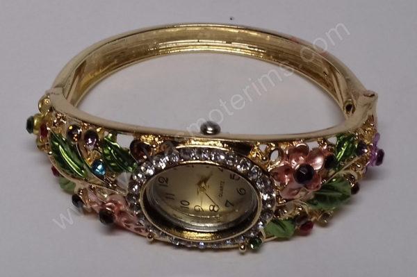 Moteriškas spalvotas laikrodis kieta apyranke - iš priekio