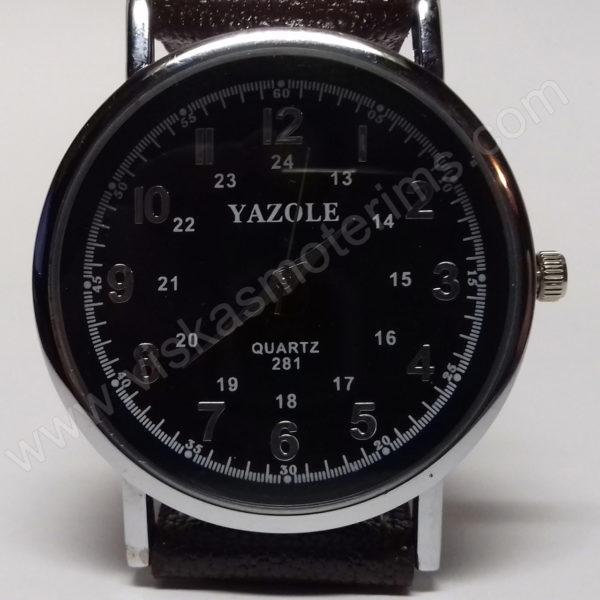 Vyriškas laikrodis Yazole rudu dirželiu bei juodu ciferblatu