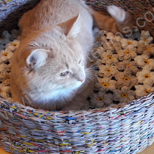 Pintas gultas gyvūnams su gėlėtu kilimėliu - bendras vaizdas, su katinu