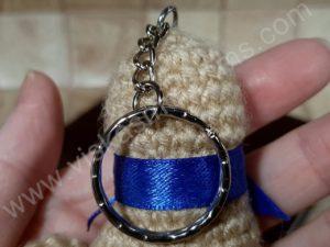 Nerta kreminės spavos pėdutė su mėlynu kaspinėliu - 07