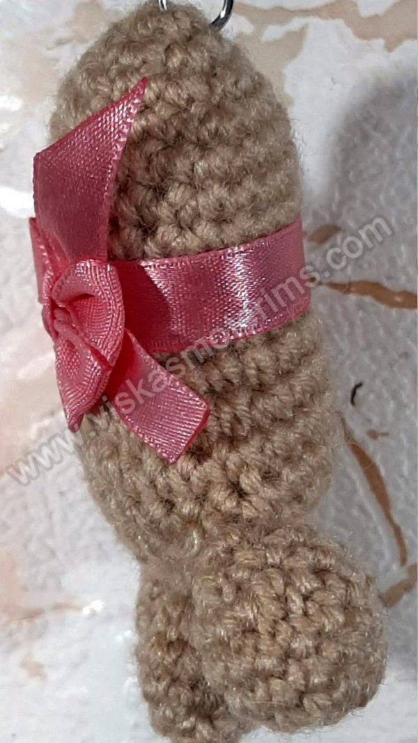 Nerta kreminės spavos pėdutė su rožiniu kaspinėliu - 03