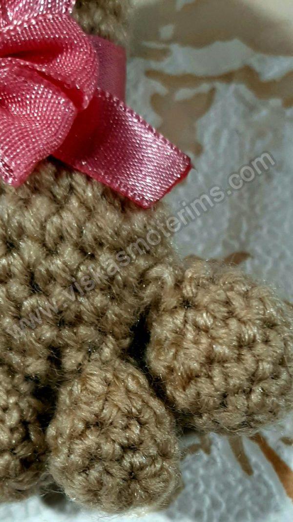 Nerta kreminės spavos pėdutė su rožiniu kaspinėliu - 07