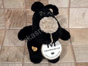 Nertas šuo Filiukas iš pliušinių juodos spalvos verpalų su kremine nosyte - 01