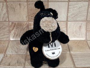 Nertas šuo Filiukas iš pliušinių juodos spalvos verpalų su kremine nosyte - 02