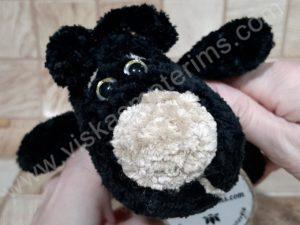 Nertas šuo Filiukas iš pliušinių juodos spalvos verpalų su kremine nosyte - 05