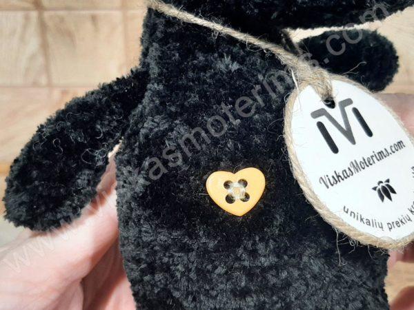 Nertas šuo Filiukas iš pliušinių juodos spalvos verpalų su kremine nosyte - 06