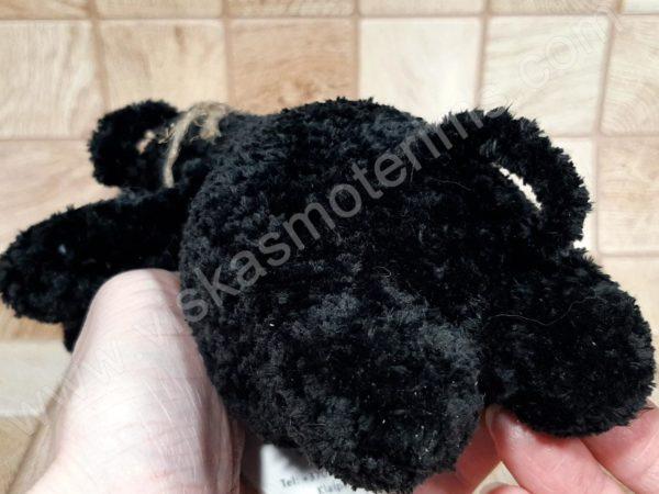 Nertas šuo Filiukas iš pliušinių juodos spalvos verpalų su kremine nosyte - 08