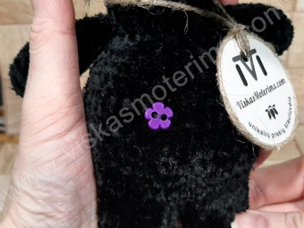 Nertas šuo Filiukas iš pliušinių juodos spalvos verpalų su violetine nosyte - 07