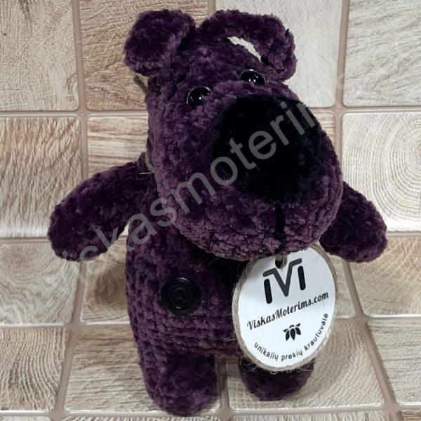 Nertas šuo Filiukas iš pliušinių violetinės spalvos verpalų su juoda nosyte - 01