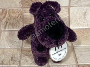 Nertas šuo Filiukas iš pliušinių violetinės spalvos verpalų su juoda nosyte - 02