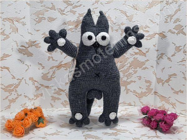 Nertas katinukas Saimonas pilkos spalvos - 01